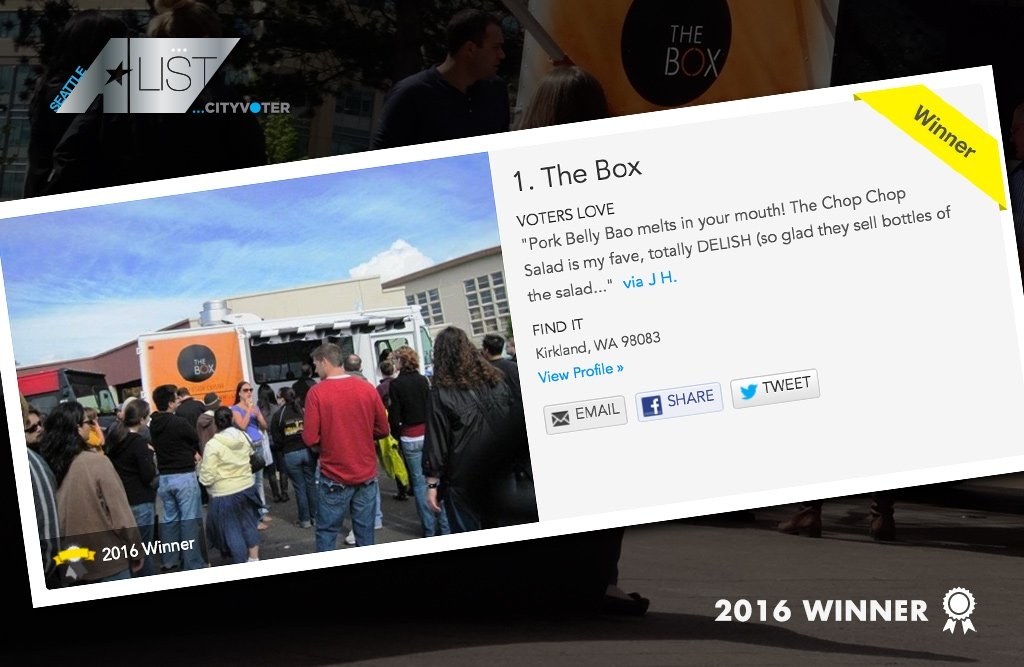 The Box named Best Food Truck by Seattle A-List voters